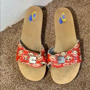 Paul Frank x Dr Scholls wooden sandals sz 10